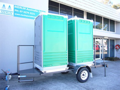 Merlin Double Trailer Mounted Portable Toilets